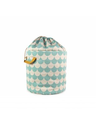 Nobodinoz Toybag Baobab small, Green Scales, printed cotton twill.