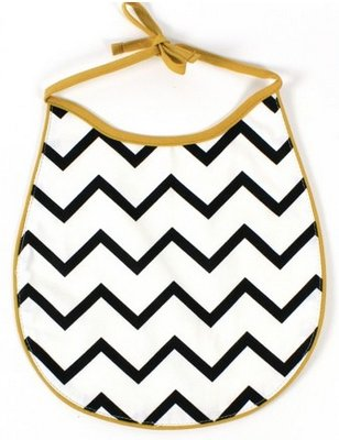 Nobodinoz Bib Black ZigZag, produced in Spain, with zigzag pattern.
