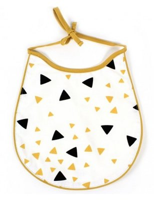 Nobodinoz Bib BlackHoney Sparks, produced in Spain, with triangle pattern.