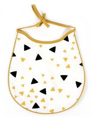 Nobodinoz Slabbetje Black Honey Sparks, geproduceerd in Spanje, met driehoek patroon.