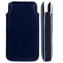 Iphone 4(S) PU Lederen Pouch hoesje Verticaal Zwart/Wit