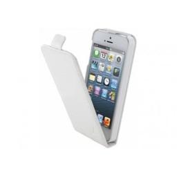 Iphone 5 pu Leer  flip case Wit