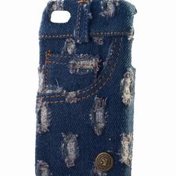 Iphone 4 (S) hoesje Jeans Style donker blauw bling