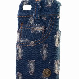 Iphone 4 (S)  Jeans Style donker blauw bling