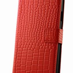 Samsung S4 hoesje Wallet croco rood