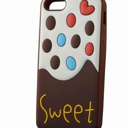 Iphone 5 hoesje Sweet Ice cream Bruin-wit