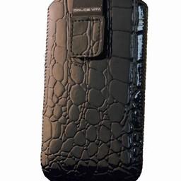 Iphone 4 insteekhoes Croco Look Zwart (voor meerdere toestellen)