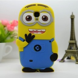 Samsung Galaxy S4 mini  siliconen bescherm hoesje Minion Two Eyes Licht Blauw
