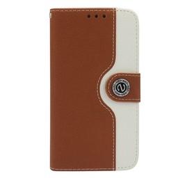 Samsung S5 PU lederen hoesje Wallet Bruin-Wit