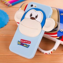 Iphone 4(s) siliconen hoesje Vroomiz Aapje Licht Blauw