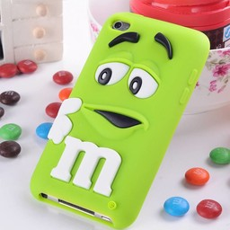 Ipod Touch 4 (G) siliconen bescherm hoesje M&M Groen