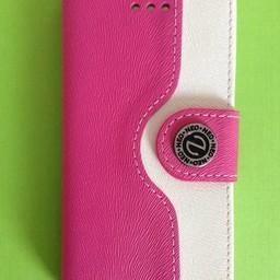iphone 5(C) leren Wallet case Rose/Wit