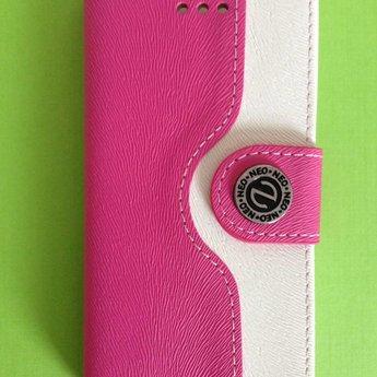 Iphone 5(C) PU Wallet case Rose/Wit