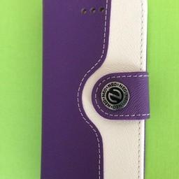 Iphone 5(C)  leren  Wallet case Paars/Wit