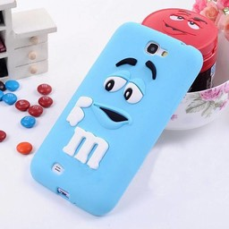 Samsung Galaxy Note 2 Siliconen hoesje M&M Blauw