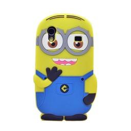 Samsung Galaxy Ace siliconen bescherm hoesje Minion Two Eyes Donker Blauw