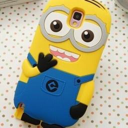 Samsung Galaxy Note 4 siliconen bescherm hoesje Minion 2 eyes Blauw