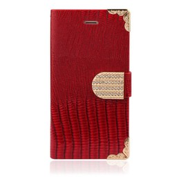 Iphone 6 (4,7 Inch) Wallet hoesje Croco Rood Bling