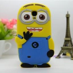 Samsung Galaxy S4 siliconen bescherm hoesje Minion Two Eyes Blauw