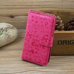 Samsung Galaxy S Duos(2)/Trend Plus PU Lederen Wallet hoesjes Cartoon Rose