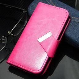 iphone 4(s)  Leren Wallet Roze