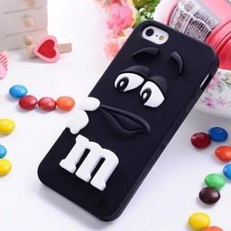 Iphone 4 (S) Siliconen hoesje M&M Zwart