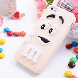 Iphone 4 (S) Siliconen hoesje M&M Wit