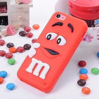 Iphone 5 C Siliconen hoesje M&M Rood