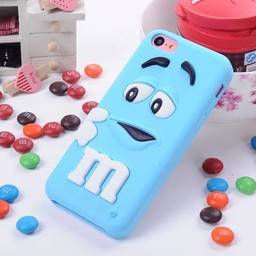 Iphone 5 C Siliconen hoesje M&M Blauw