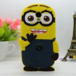Samsung Galaxy S4 siliconen bescherm hoesje Minion Two Eyes Donker Blauw
