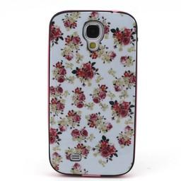 Samsung S4 TPU Siliconen Hybride hoesje met gekleurde bumper Bloemen