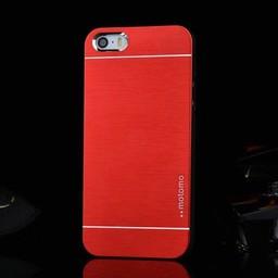 Iphone 5 (S) Hard case hoesje Aluminium Rood