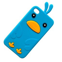 Ipod Touch 4 (G) siliconen bescherm hoesje Kuikentje Licht blauw