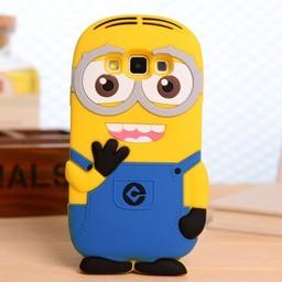Samsung Galaxy A3 siliconen bescherm hoesje Minion Two Eyes Blauw