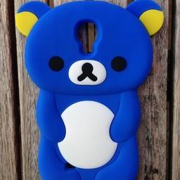 Samsung S4 siliconen hoesje Rilakkuma Beer Blauw