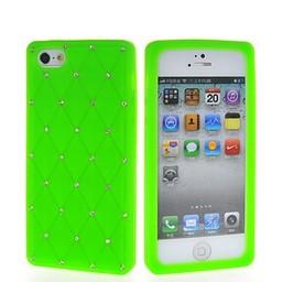 Iphone 5 (S) en 5(c) Siliconen hoesjes Daimond Strass Groen