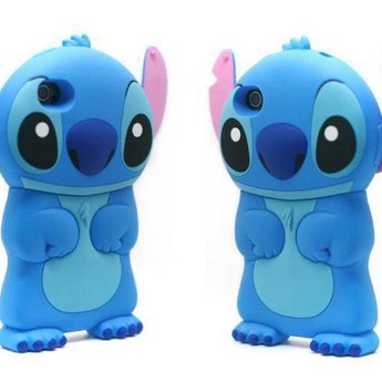 Iphone 5(S) en 5(C) Siliconen hoesje Stitch Blauw