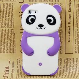 Iphone 5 (C) hoesje Siliconen Panda Beer Paars