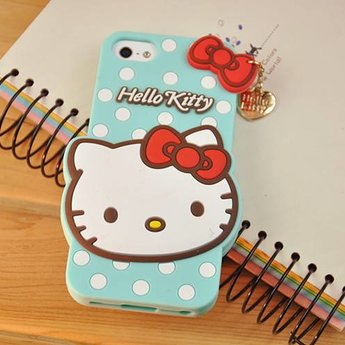 Iphone 4 (S) Siliconen hoesje Hello Kitty Groen/Blauw
