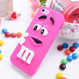 Iphone 4 (S) Siliconen hoesje M&M Donker rose