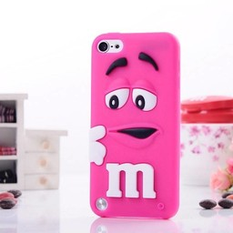 Ipod Touch 5 (G) en 6(G) siliconen bescherm hoesje M&M Donker Rose