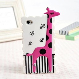 Iphone 4 (S) Siliconen hoesje Giraffe Wit