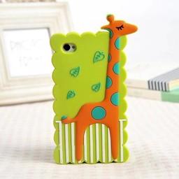 Iphone 4 (S) Siliconen hoesje Giraffe Groen