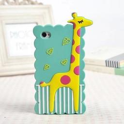 Iphone 4 (S) Siliconen hoesje Giraffe Aqua Blauw