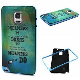 Samsung Galaxy Note 4 Hard siliconen hoesje met gekleurde bumper Dreamers