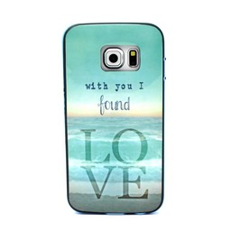 Samsung S6 Edge TPU Siliconen Hybride hoesje met gekleurde bumper Love