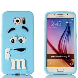 Samsung S6 Edge Siliconen M&M hoesje Blauw