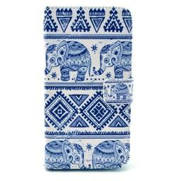 Samsung Galaxy S5 mini PU leren Wallet Olifantjes