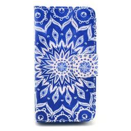 Samsung Galaxy S5 mini PU lederen Wallet hoesje Flower Blue