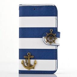Samsung Galaxy S4 mini PU Lederen Wallet hoesje Strepen Anker Blauw